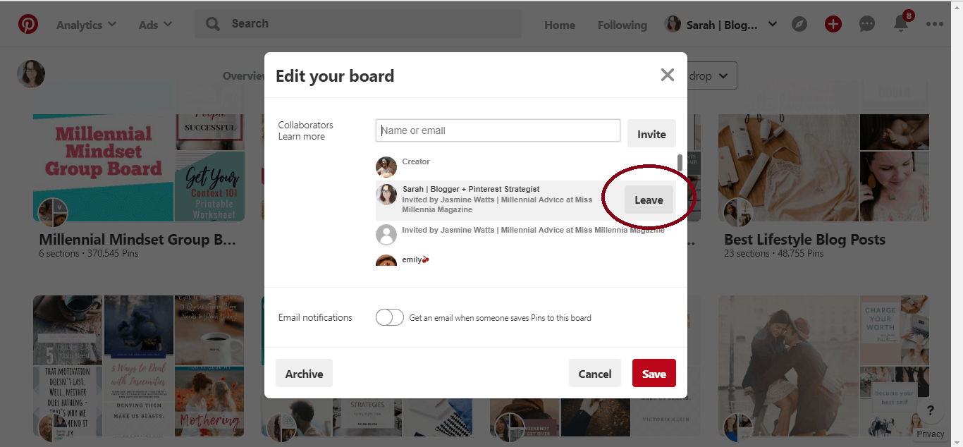 """A screenshot of Pinterest's option to """"Edit Your Board"""". The button """"Leave"""" is circled in red."""