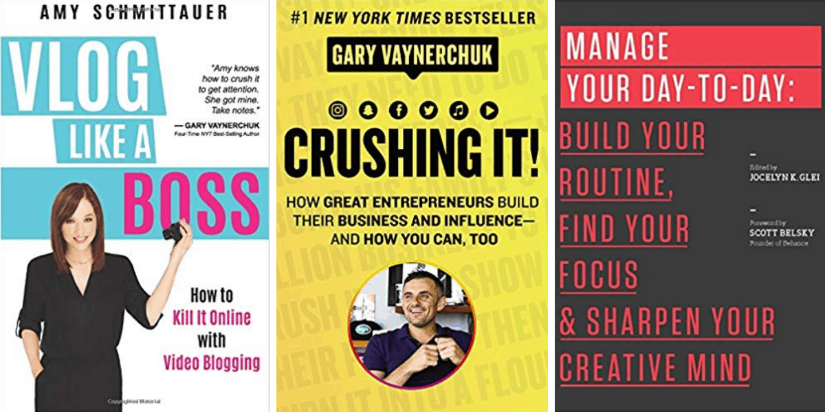 Holiday gift guide for bloggers: self help books for entrepreneurs; Vlog like a Boss; Crushing It!; and Manager You Day-to-Day
