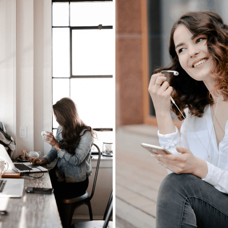 Two photographs of woman. One is sitting at a cafe working on her laptop, the other is smiling while pulling earbuds out.