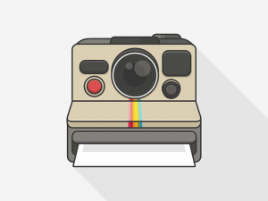 An illustration of a Polaroid camera
