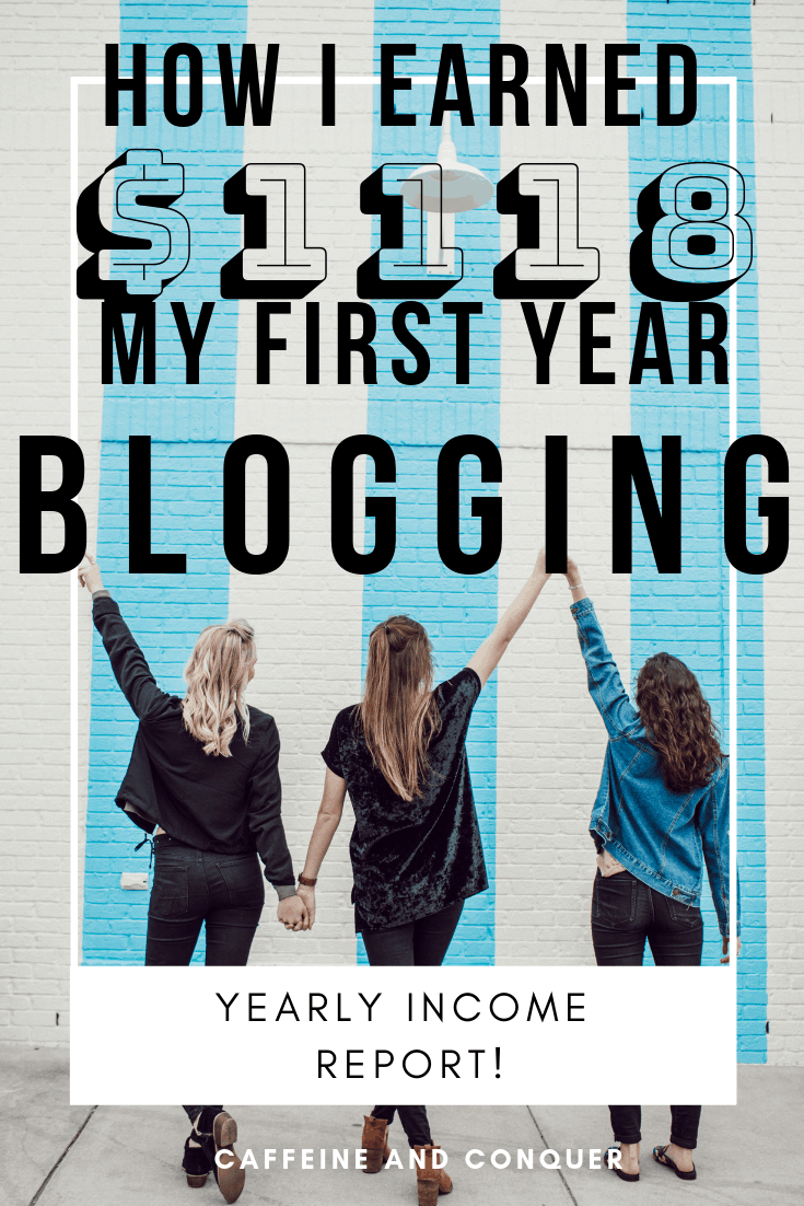 "A pinnable image of three woman holding their hands in the air in front of a blue and white brick wall. Text over: ""How I earned $1118 my first year blogging. Yearly income report. Caffeine and Conquer"""