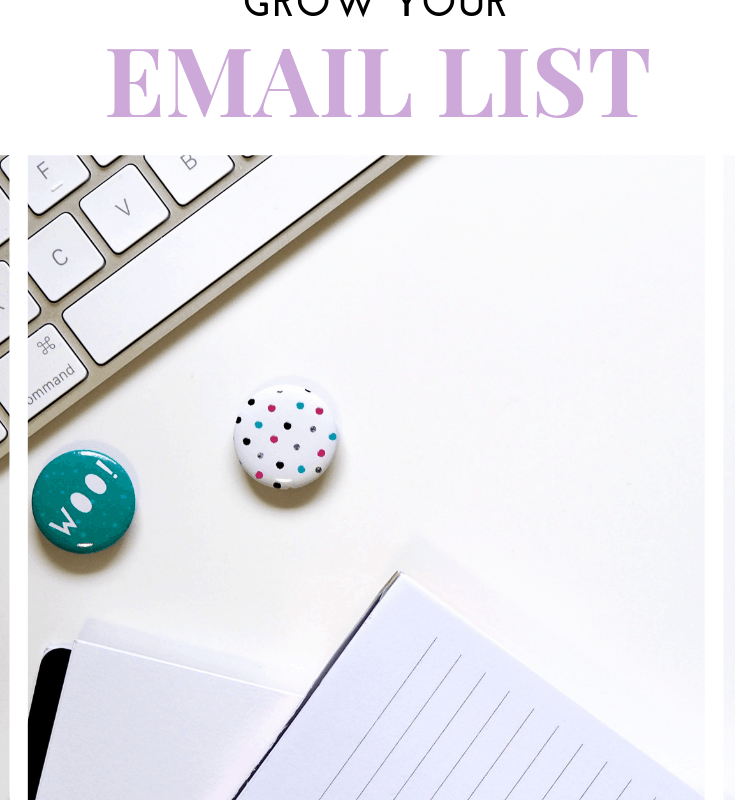 """A pinnable image of a desk flatlay with text that says """"8 different ways to grow your email list. www.caffeineandconquer.com"""""""
