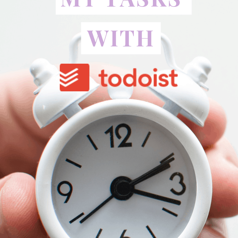 "A pinnable image ""How I Manage My Tasks With Todist"" with a hand holding a small white alarm clock"