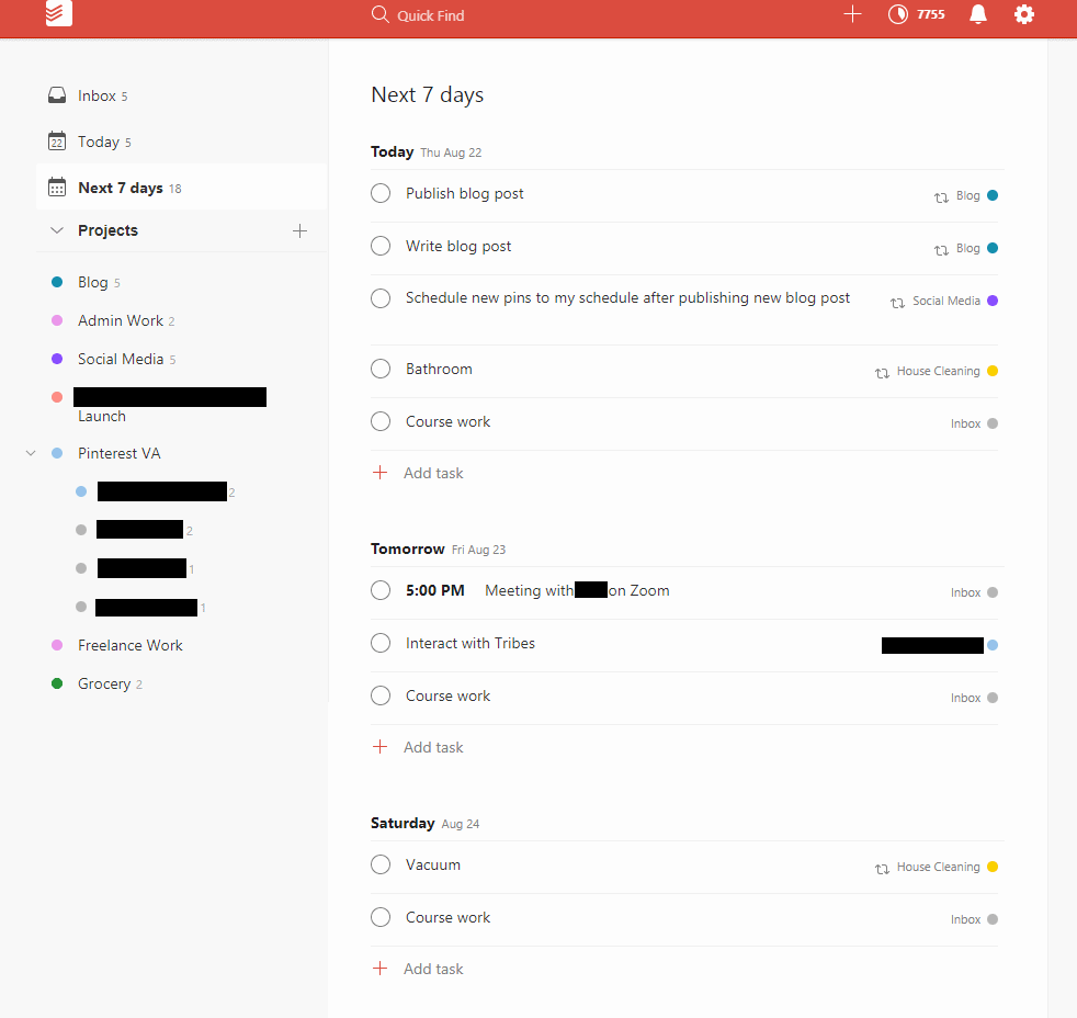 A screenshot of Todoist's dashboard and how I manage my tasks