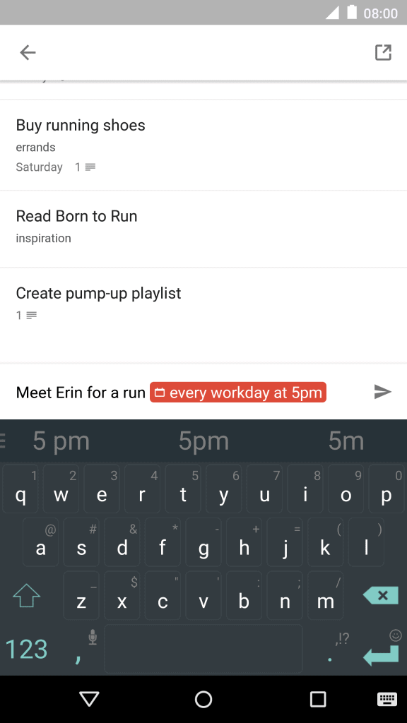 A screenshot of ToDoist's mobile app text input feature