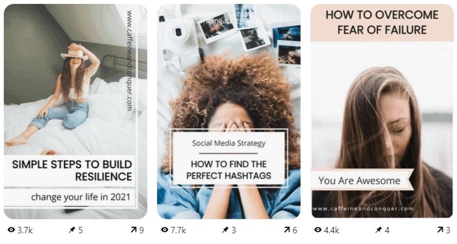 Three Pinterest pin designs created using Tailwind Create